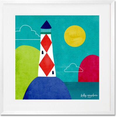 'The Magical Sea - Lone Lighthouse' Framed Graphic Art Print Format: White Frame, Size: 20