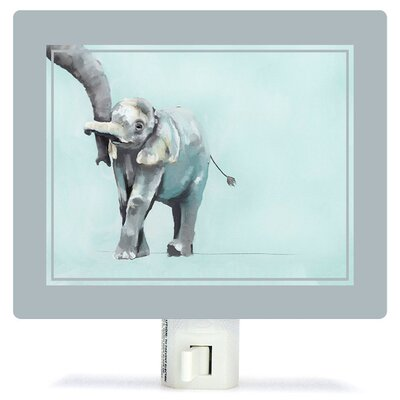 Non-Personalized You And Me Elephant Canvas Night Light Color: Blue