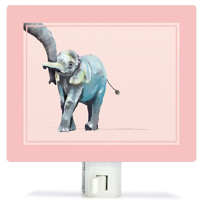 Non-Personalized You And Me Elephant Canvas Night Light Color: Pink