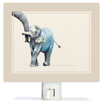 Non-Personalized You And Me Elephant Canvas Night Light Color: Beige