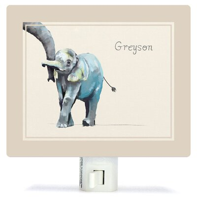 Personalized You And Me Elephant Neutral Canvas Night Light