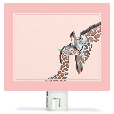 Non-Personalized You And Me Giraffe Canvas Night Light Color: Pink