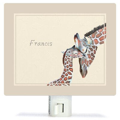 Personalized You And Me Giraffe Neutral Canvas Night Light