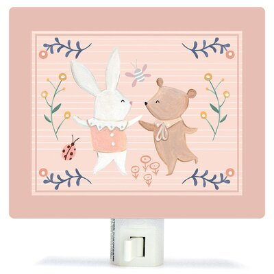 Non-Personalized Bunny and Bear Dancers Canvas Night Light