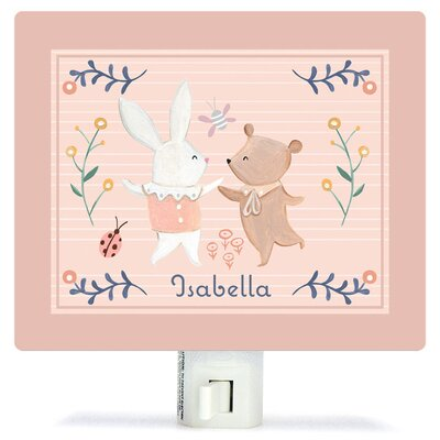 Personalized Bunny and Bear Dancers Canvas Night Light