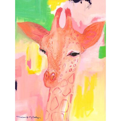 Dionysus Cotton Candy Giraffe Framed Canvas Art Size: 14