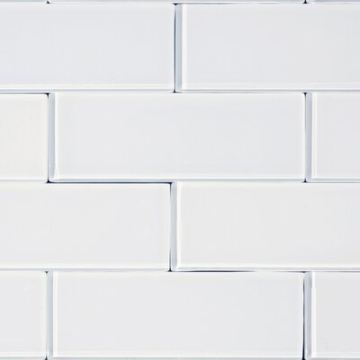 3 x 8 Glass Subway Tile in Snow