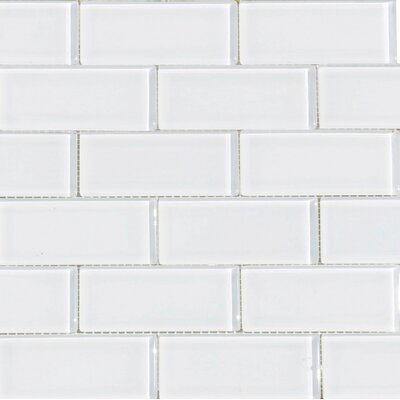 2 x 4 Glass Subway Tile in Snow