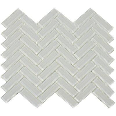 Herringbone Shiny 3 x 1 Glass Mosaic Tile in Mist