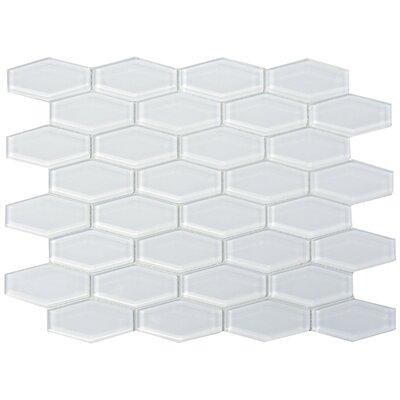 3 x 1 Shiny Hexagon Tile in Snow