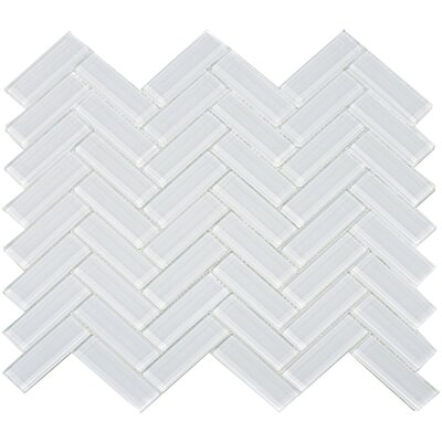 Herringbone Shiny 1 x 3 Glass Mosaic Tile in Snow