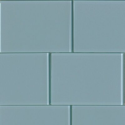 Shiny 4.75 x 7 Glass Subway Tile in Blue