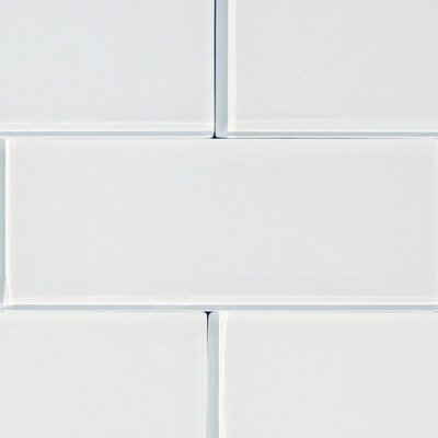 Shiny 4.75 x 13 Glass Subway Tile in White