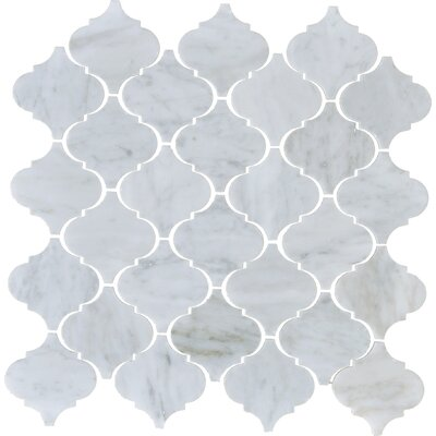 Carrara Arabesque Marble Mosaic Tile in White