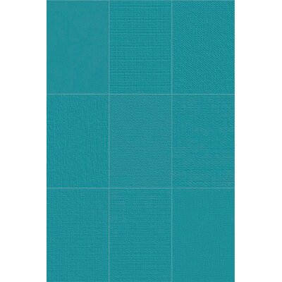Makar Italian 4.75 x 7 Ceramic Fabric Look/Field Tile in Aqua