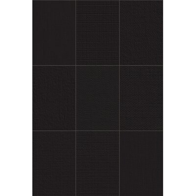 Makar Italian 4.75 x 7 Ceramic Fabric Look/Field Tile in Black