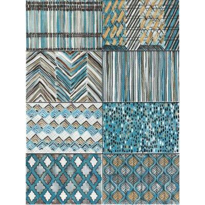 Makar Italian 4.75 x 7 Ceramic Field Tile in Blue/Gray