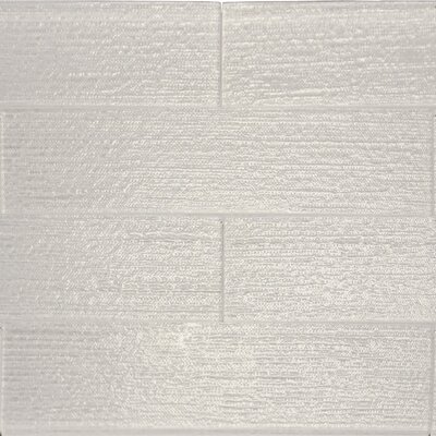 Linen Textured 3 x 12 Glass Subway Tile in Snow