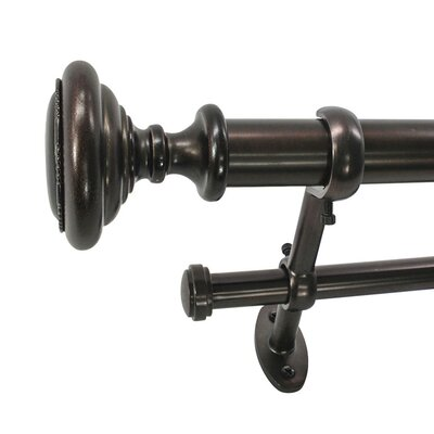 22 Park West Knob Telescoping Double Curtain Rod and Hardware Set
