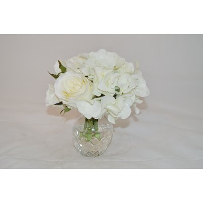 White Rose Mix in Glass Vase