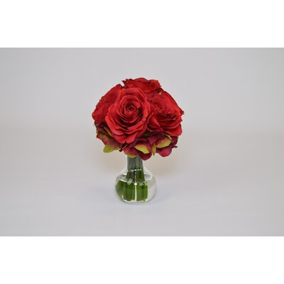 Red Roses and Hydrangeas in Sweet Pea Vase