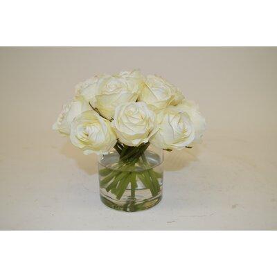 Cream Roses in Cylinder Vase