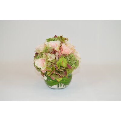 Pink/Green Rose and Hydrangea Bundle in Round Vase with Foliage