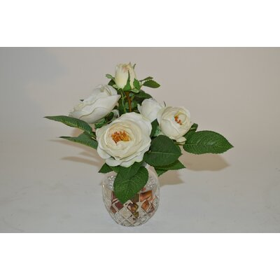 White Rose Spray in Etched Vase