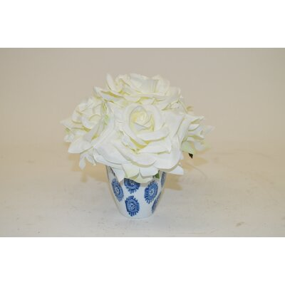 White Roses in Decorative Vase