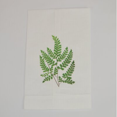 Hemstitched Maidenhair Fern Linen Hand Towel (Set of 2)