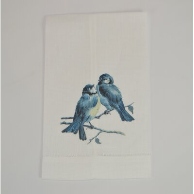 Hemstitched Bird Pair Linen Hand Towel (Set of 2)