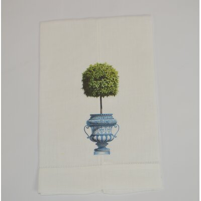 Hemstitched Topiary Linen Hand Towel (Set of 2)