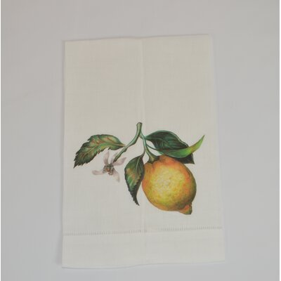 Hemstitched Lemon Linen Hand Towel (Set of 2)
