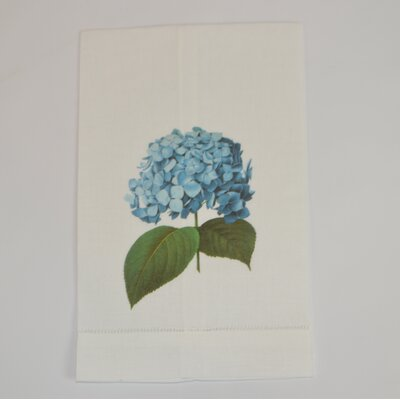 Hemstitched Hydrangea Linen Hand Towel (Set of 2)