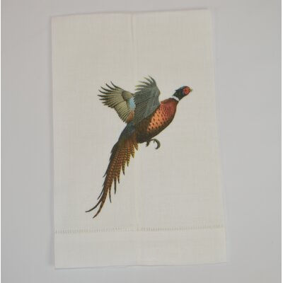 Hemstitched Flying Bird Linen Hand Towel (Set of 2)