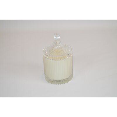 Lidded Ribbed Hydrangea Scented Jar Candle CA165-HYD