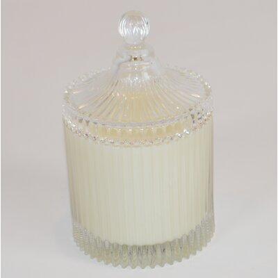 Lidded Ribbed Gardenia Scented Jar Candle CA165-GAR