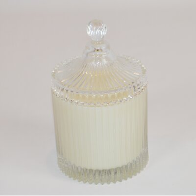 Lidded Ribbed Hydrangea Scented Jar Candle CA165-HYD
