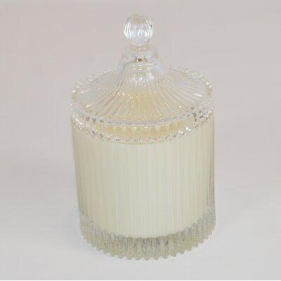 Lidded Ribbed Lavender Scented Jar Candle CA165-LAV
