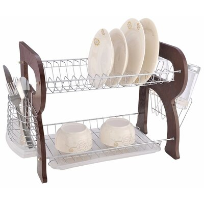 Wooden 2 Tier Dish Rack Finish: Cherry