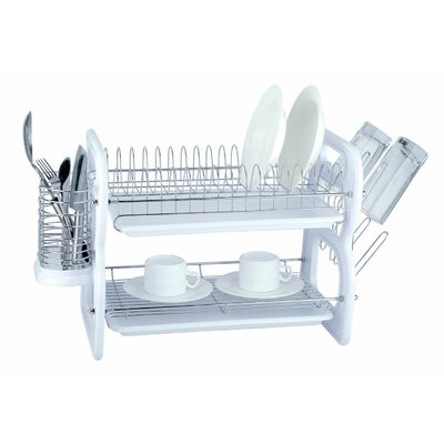 2 Tier Plastic and Chrome Dish Rack