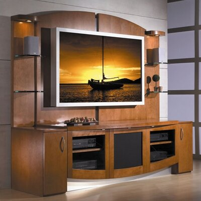 Cheap JSP Jazzy Plasma Home Theater Credenza and Back Panel in Malt Finish (JSI1059)