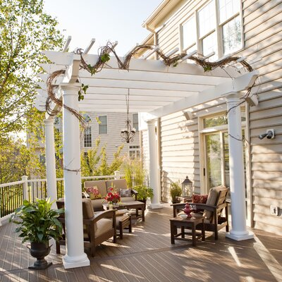 """Trex Pergola Freestanding 9' 6"""" H x 16' W x 16' D Pergola with High Round Columns - Color: Rope Swing at Sears.com"""