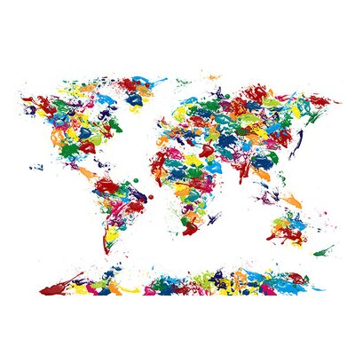 """icanvas 'World Map Paint Drops' by Michael Tompsett Painting Print on Canvas - Size: 8"""" H x 12"""" W x 0.75"""" D at Sears.com"""