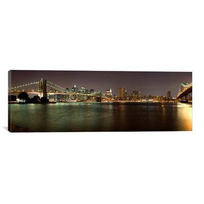 Panoramic Brooklyn Bridge and Manhattan Bridge Across East River at Night, New York Photographic Print on Canvas Size: 16