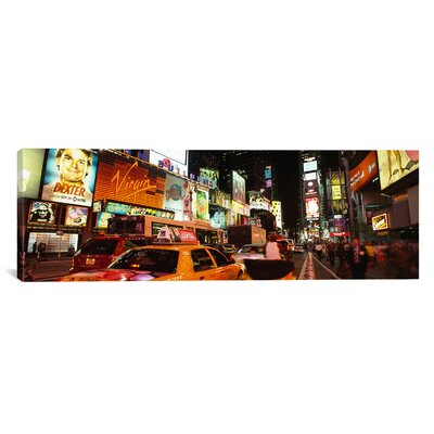 Panoramic Buildings Lit Up at Night in a City, Broadway, Times Square, Midtown Manhattan, Manhattan, New York City, New York State, Photographic Print on Canvas Size: 16