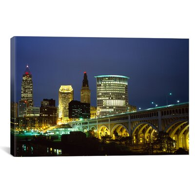 Panoramic Bridge in a City Lit Up at Night, Detroit Avenue Bridge, Cleveland, Ohio Photographic Print on Canvas PIM5964-1PC3-12x8