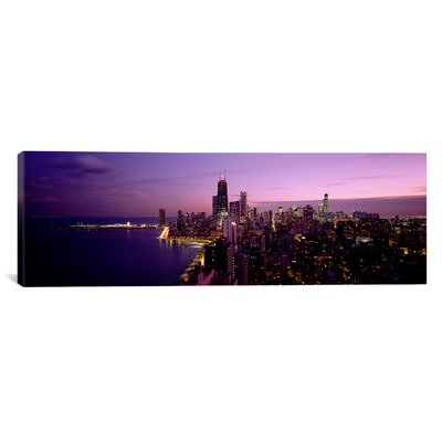 Panoramic Buildings Lit up at Night Chicago Photographic Print on Canvas Size: 20 H x 60 W x 1.5 D