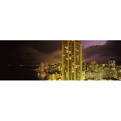 Panoramic Buildings Lit up at Night Honolulu, Hawaii Photographic Print on Canvas Size: 16