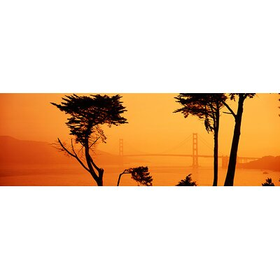 Panoramic Bridge over Water, Golden Gate Bridge, San Francisco, California Photographic Print on Canvas Size: 16